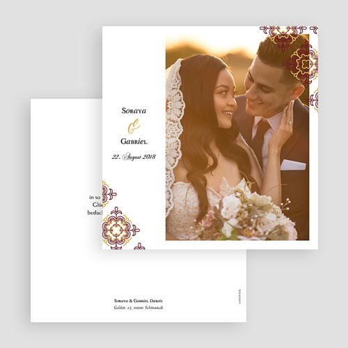 Dankeskarten Hochzeit mit Foto Ottoman Rot gratuit