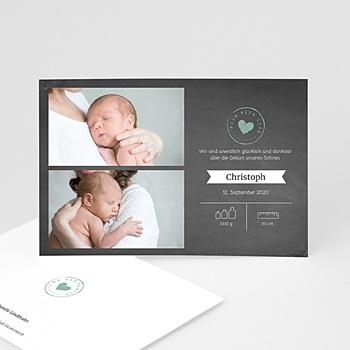 Geburtskarten für Jungen - Kreidetafel Herz - 0