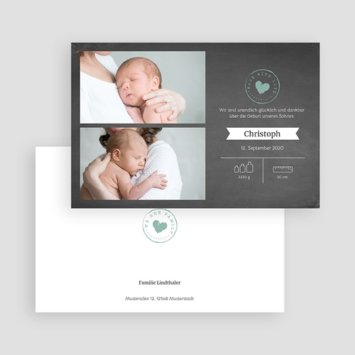 Geburtskarten für Jungen Kreidetafel Herz gratuit