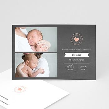 Geburtskarten für Mädchen - Tafel Herz - 0