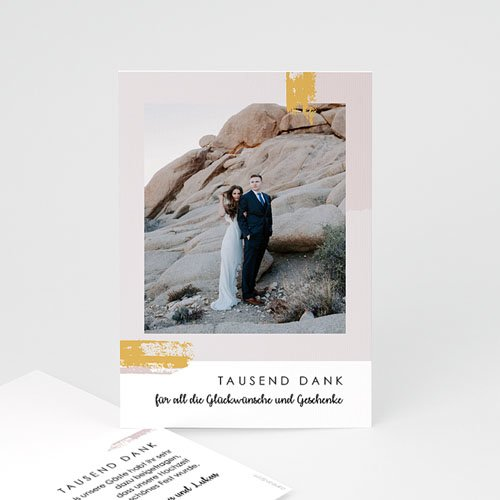 Dankeskarten Hochzeit mit Foto - Rose Quarz 68203 thumb