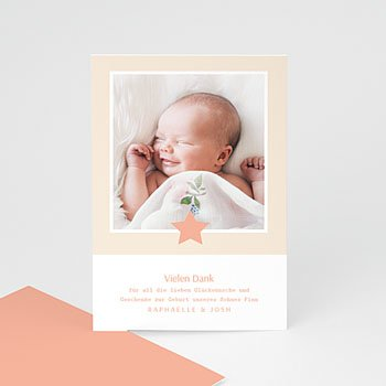 Dankeskarten Geburt Mädchen - Sternchen - 0