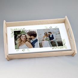 Personalisierte Foto-Tablett  - Blumendesign grün - 1