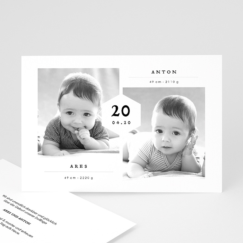 Geburtskarten für Zwillinge Ares & Anton
