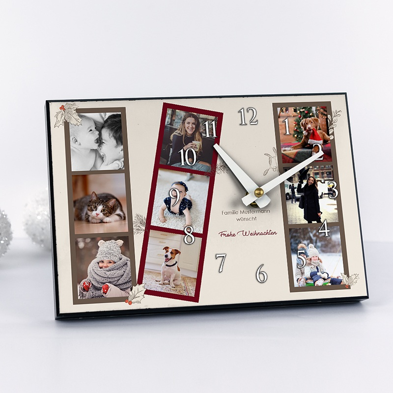 Personalisierte Fotouhr Retro Fotostreifen