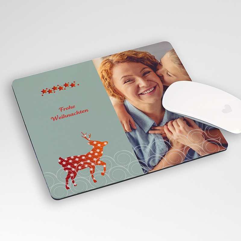 Personalisierte Foto-Mousepad Rot Gold und Silber