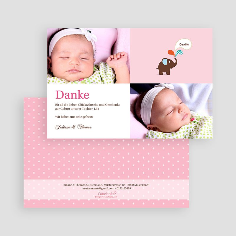Dankeskarten Geburt für Mädchen Benjamine gratuit