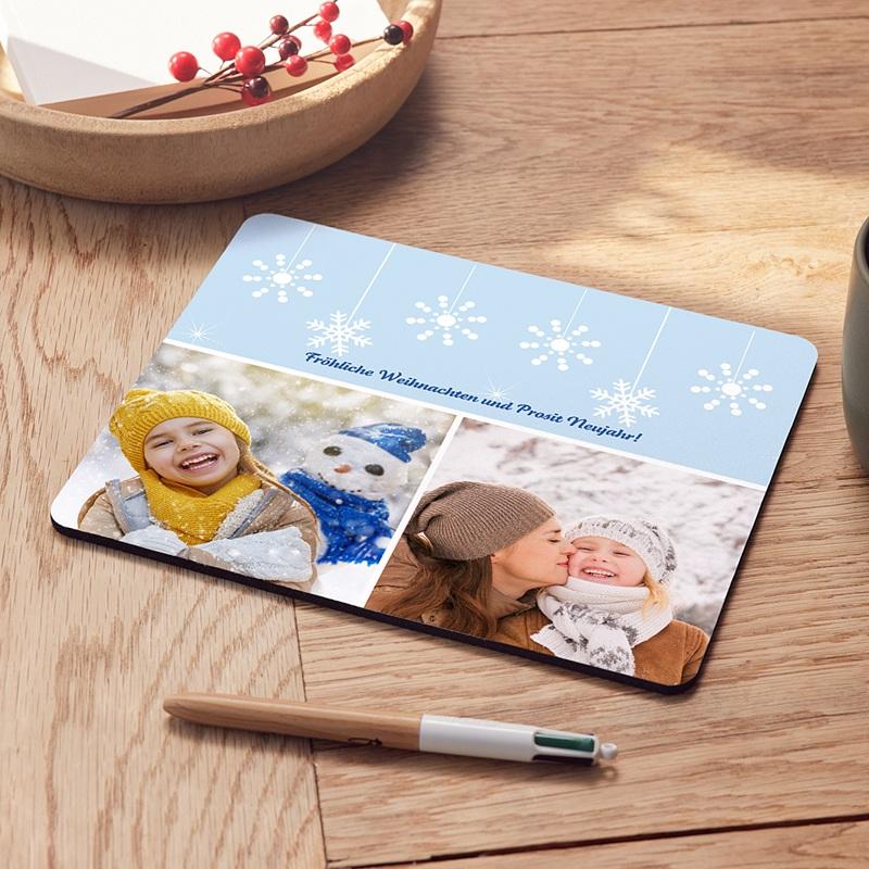 Personalisierte Foto-Mousepad Schneeflocken 1