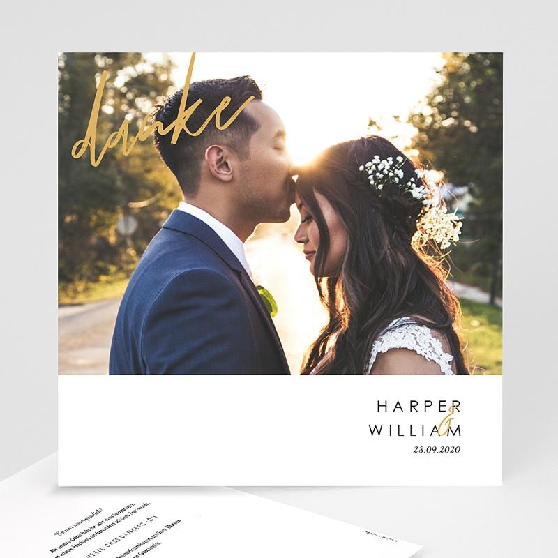 Dankeskarten Hochzeit mit Foto Gold