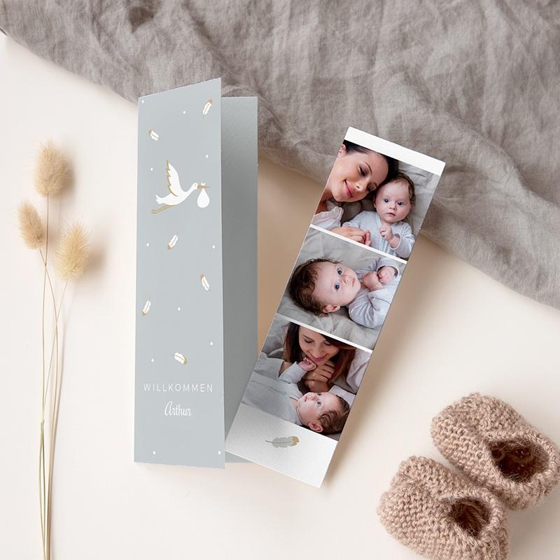 Geburtskarten mit Storch Blauer Storch