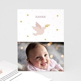 Danksagungskarten Taufe Taube rosa
