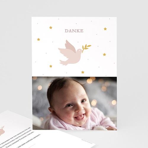 Dankeskarten Taufe Mädchen Taube rosa
