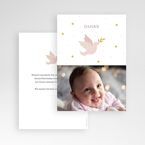 Dankeskarten Taufe Mädchen Taube rosa pas cher