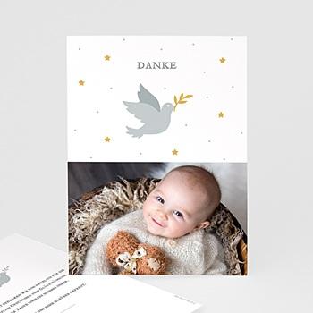 Dankeskarten Taufe Jungen - Kleine Taube - 0