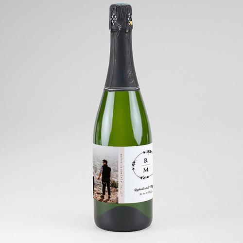 Sekt Flaschenetiketten Hochzeit Boho Krone