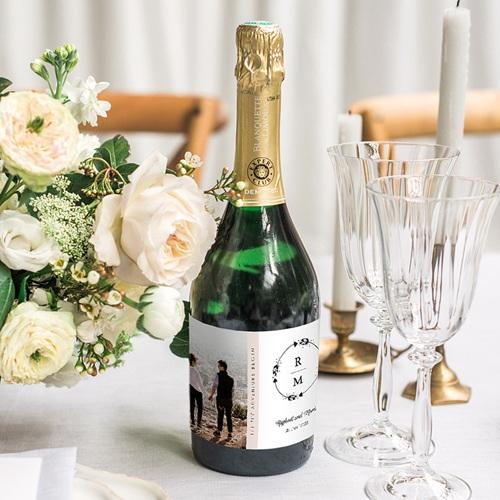 Sekt Flaschenetiketten Hochzeit Boho Krone gratuit
