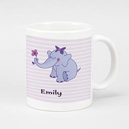 Fototassen Geburt Elefant in violett