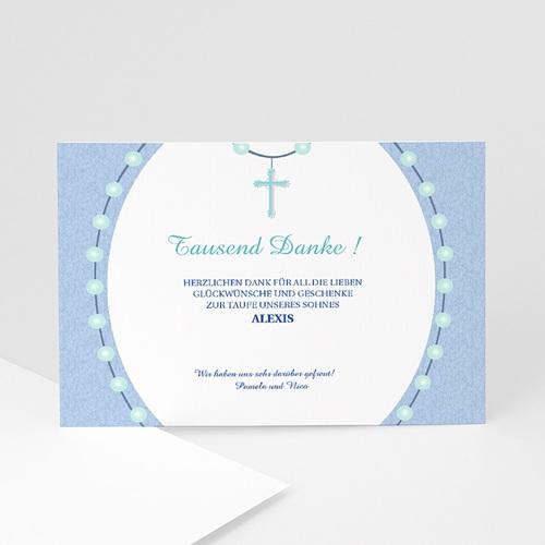 Dankeskarten Taufe Jungen - Danksagung Taufe Kreuz 1 6977