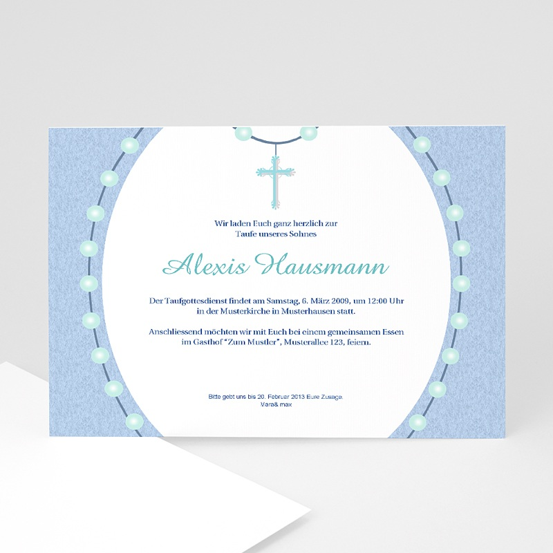 Einladungskarten Taufe für Jungen Lazarus