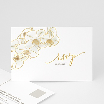 Antwortkarten Hochzeit  - Gold Orchidee - 0