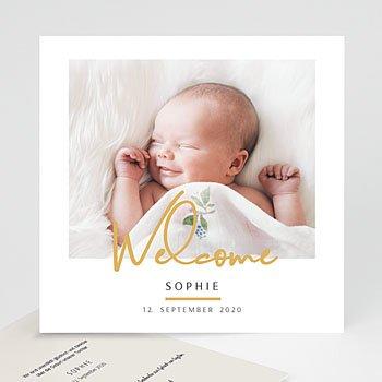Geburtskarten für Mädchen - Welcome in Gold - 0