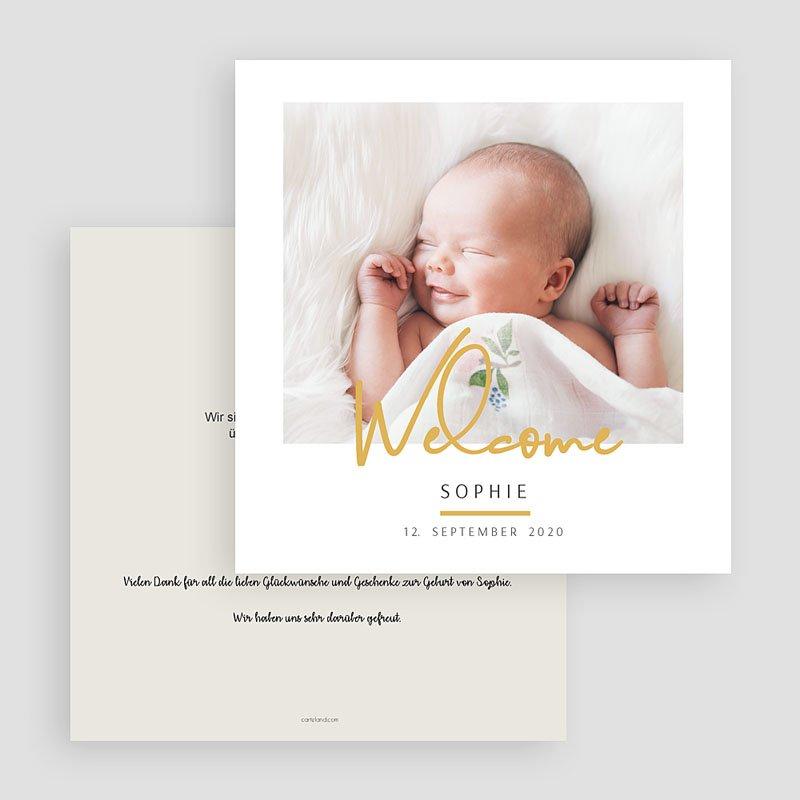Geburtskarten für Mädchen Welcome in Gold gratuit