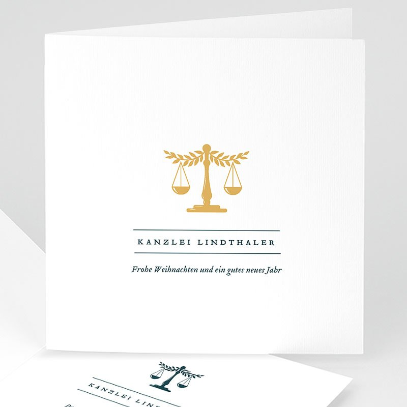Geschäftliche Weihnachtskarten Recht und Gerechtigkeit