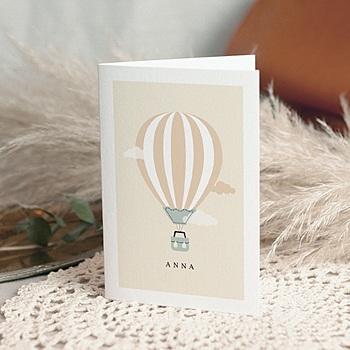 Geburtskarten für Mädchen - Heissluftballon Retro - 0