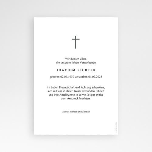 Danksagungskarten Trauer - Schlichtes Kreuz 70259 thumb