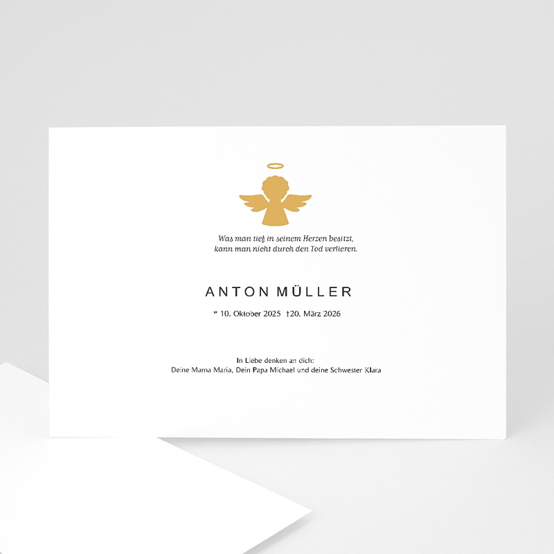 Danksagungskarten Trauer Goldengel