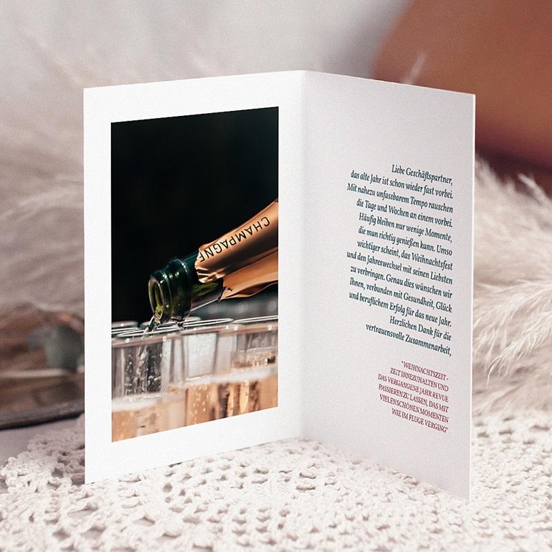 Geschäftliche Weihnachtskarten Champagner pas cher