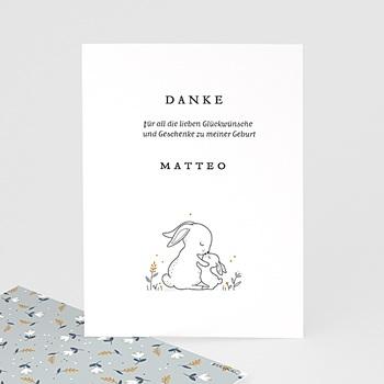 Dankeskarten Geburt Mädchen - Kuschelhase - 0