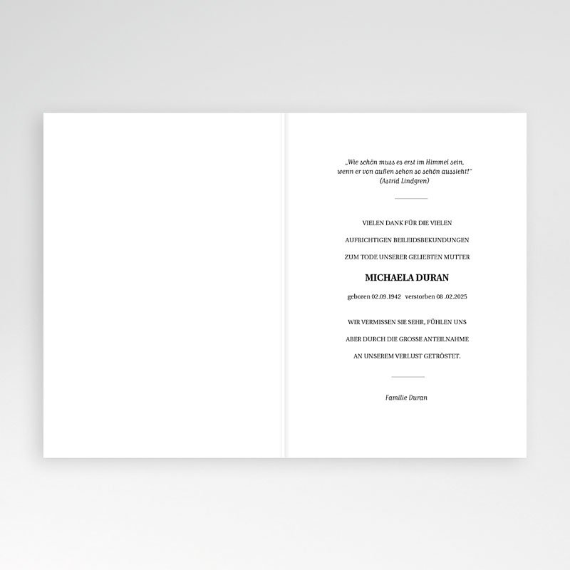 Danksagungskarten Trauer - Abschied 70495 thumb