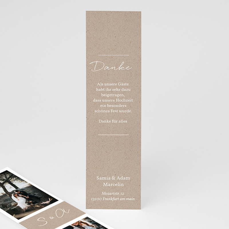 Dankeskarten Hochzeit Kraftpapier - Rustic Chic 70528 thumb