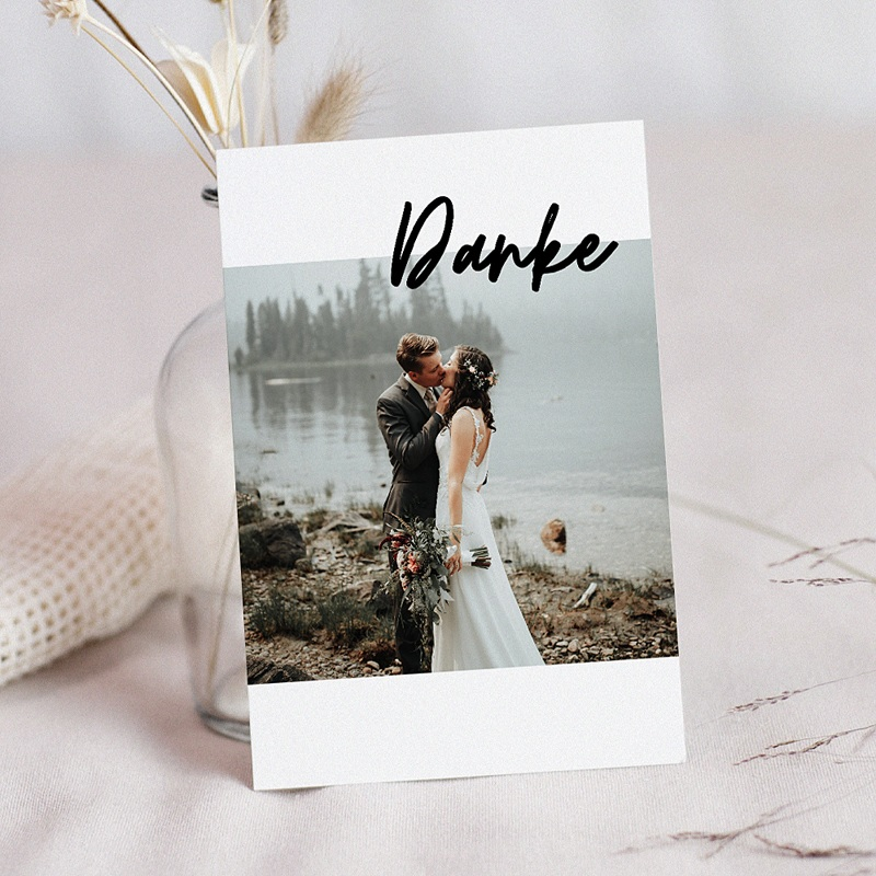 Dankeskarten Hochzeit mit Foto - Mastic Majestic 70551 thumb