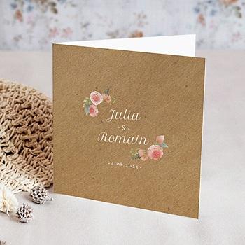 Hochzeitskarten Kraftpapier - Florale Krone - 0