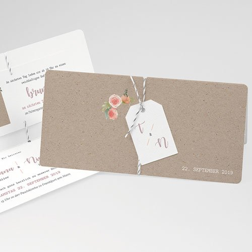 Rustikale Hochzeitseinladungen Apricot & Kraftpapier