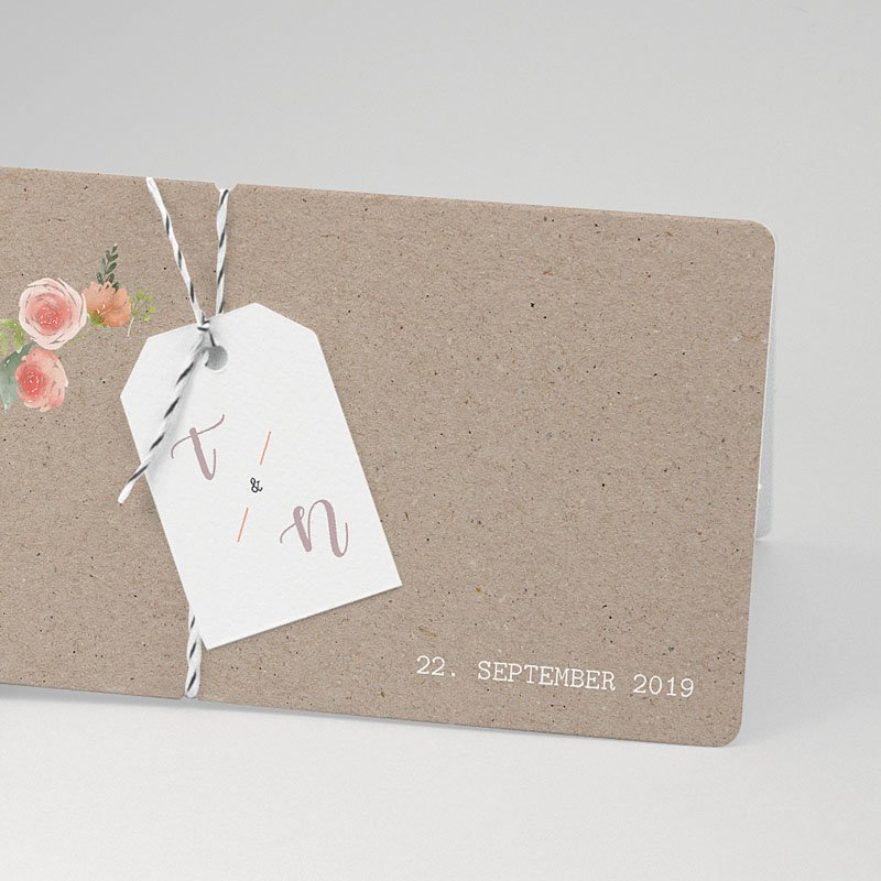 Rustikale Hochzeitseinladungen Apricot & Kraftpapier pas cher