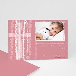 Dankeskarten Taufe Mädchen - Taufe Einladungskarte pink - 1