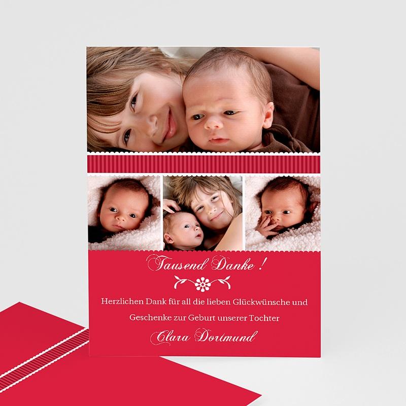 Dankeskarten Geburt für Mädchen Rubinrot