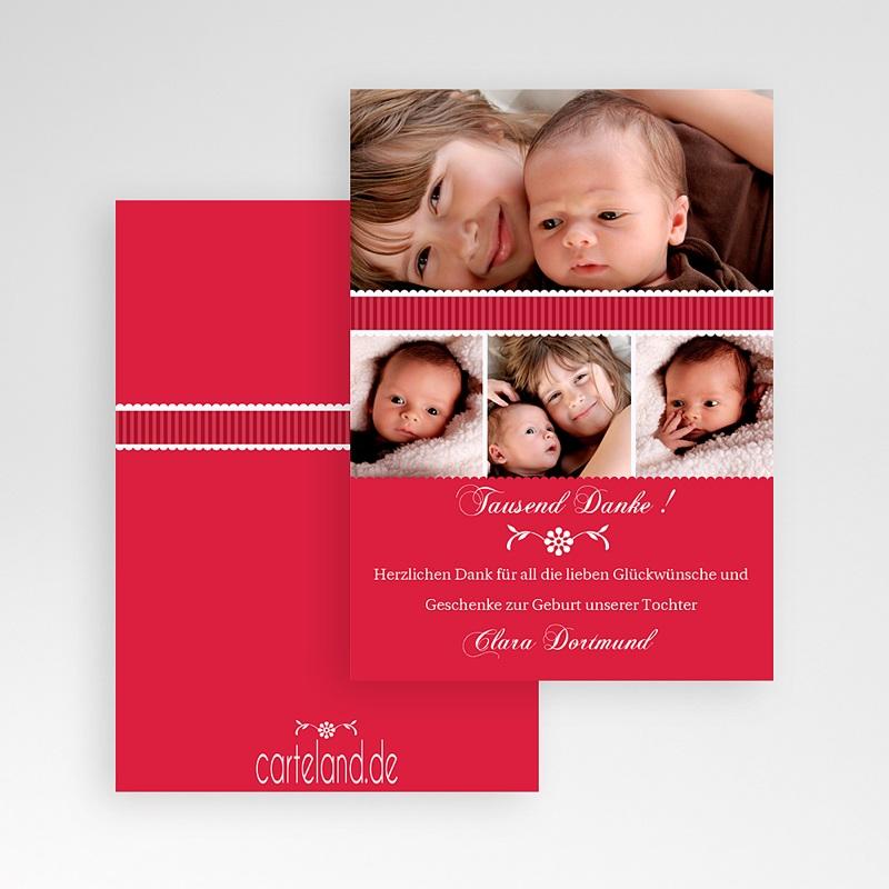 Dankeskarten Geburt für Mädchen Rubinrot pas cher