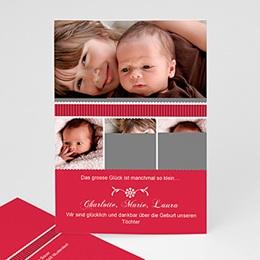 Geburtskarten für Mädchen - babykarte rot rot - 1