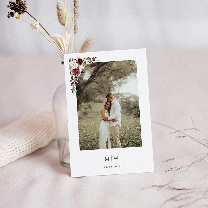 Dankeskarten Hochzeit Boho - Marsala Krone 71504 thumb