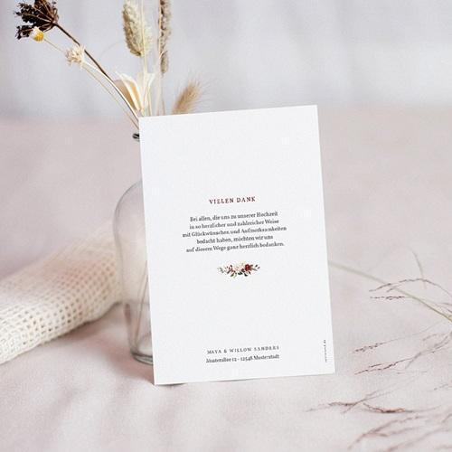 Dankeskarten Hochzeit Boho - Marsala Krone 71505 thumb