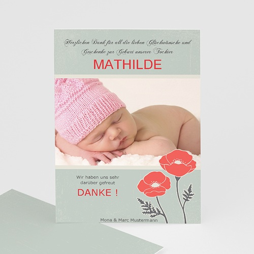 Dankeskarten Geburt Mädchen - Mohnblume 7159