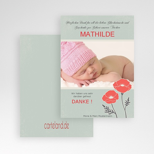 Dankeskarten Geburt Mädchen - Mohnblume 7160 preview