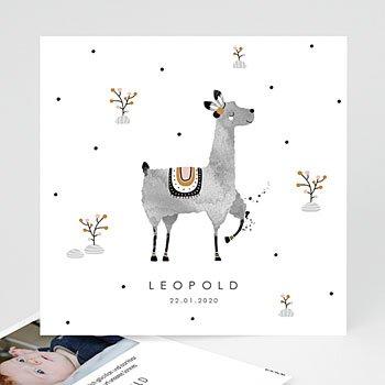 Geburtskarten für Jungen - Lama Aquarell - 0