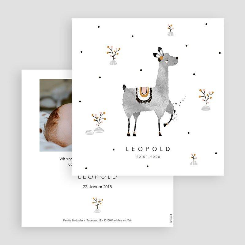Geburtskarten für Jungen Lama Aquarell gratuit