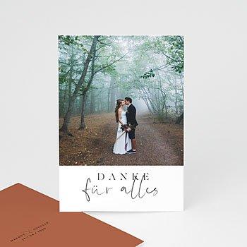 Dankeskarten Hochzeit mit Foto - Calligraphie Zimt - 0