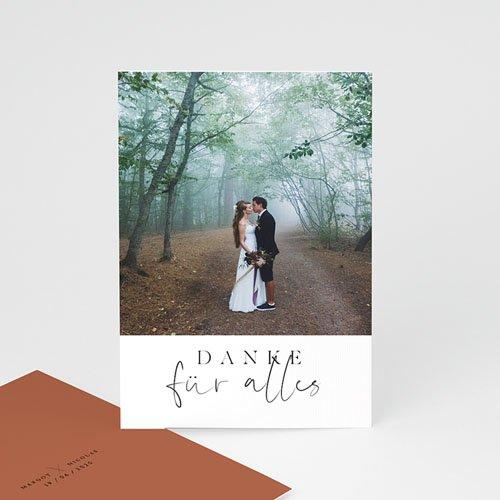 Dankeskarten Hochzeit mit Foto - Calligraphie Zimt 72247 thumb